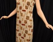 Vintage 50s Asian Inspried Tunic Dress // 1950s Kahala Honolulu Tan Novelty Print Tunic or Swimsuit Coverup