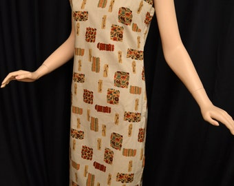 Vintage 50s Asian Inspried Tunic Dress // 1950s Kahala Honolulu Tan Novelty Print Tunic or Swimsuit Coverup