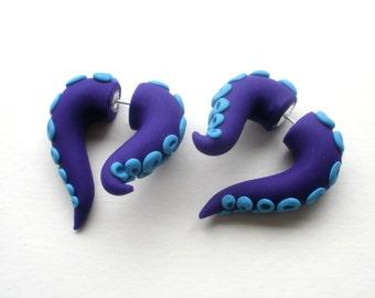 Abyss Octopus Fake Gauge Earring - Pincher -Squid -Monster -Ocean -Water -