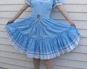 Blue Country Dress Dancing Western Square Dance Kate Schorer Rockabilly Full Skirt M L