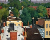 Up On the Roof, Jersey City. Oil Painting Landscape, 24x18 Oil on Canvas, Strip Framed Impressionist Plein Air Fine Art, Signed Original