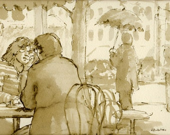 Original Pen and Ink Drawing, Au Cafe, Paris France 1980s. Reed Pen and Sepia Ink on Watercolor Paper, Signed Original Vintage Drawing