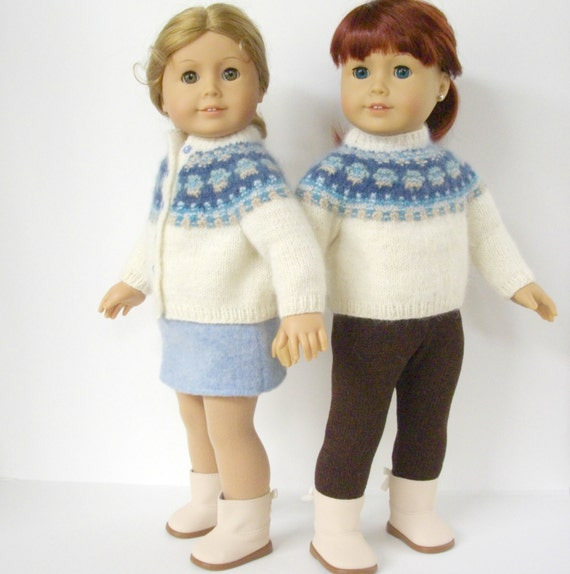 Knitting Patterns For American Girl Dolls : American Girl Doll Knitting Pattern Cardigan Bohus Blue