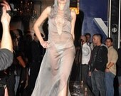 SAMPLE SALE Sheer Silver Chiffon Dress With Attached Hood and Draped Beads
