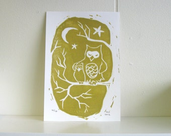 Golden Owls Linocut by Daisy Adams - limited edition printmaking - gold and white - woodland - stars tree - mom and baby