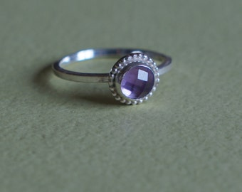 amethyst ring - rose cut amethyst - size 6.5