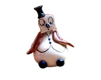 eccentric Owl figure bird ornament kitsch hand made top hat