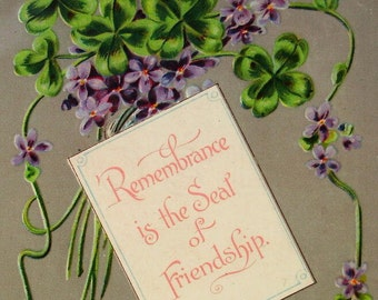 Antique Postcard - Remembrance is the Seal of Friendship
