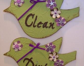 Clean Dirty Dishwasher Magnet Housewarming Gift Green Brown and Purple Bird