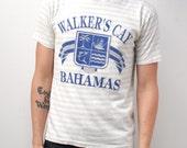 men's vintage NAUTICAL STRIPE 90s BAHAMAS crest cotton t-shirt