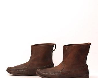 mens size 13 CHUKKA style men's dark brown UNIQUE 80s SNOW work slip on boots