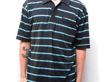 vintage STRIPED men's black POLO rugby euro shirt