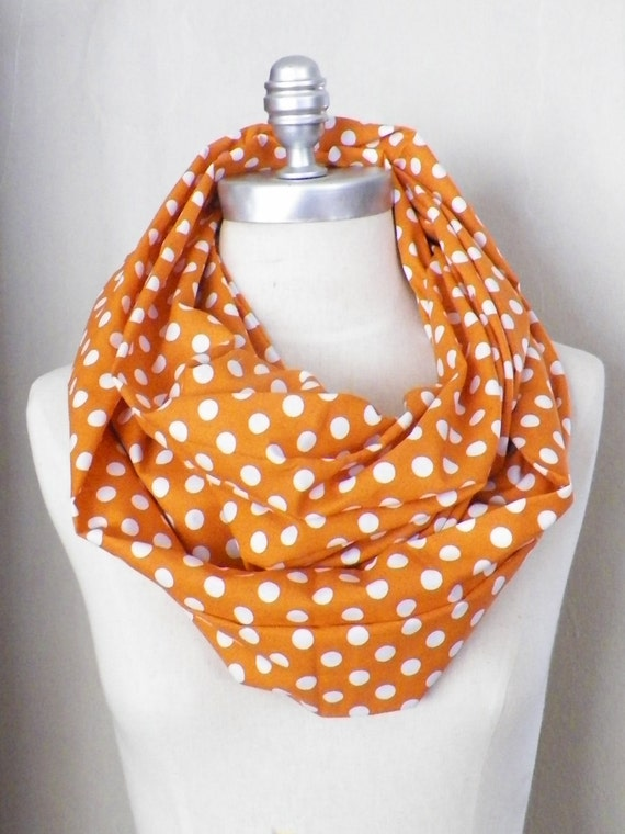 Polka Dot Circle Scarf, Orange and White, CottonInifinity Scarf,  Fabric Loop Spring Fashion