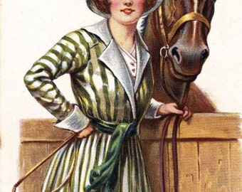 Vintage Lady/ Woman with Horse Downloadable, Printable, Digital Art Image