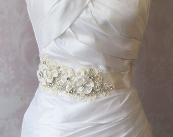 Creamy Ivory Bridal Sash, Wedding Belt, White, Champagne or Ivory Rhinestone and Pearl Flower Sash with Alencon Lace - COTTAGE GARDEN