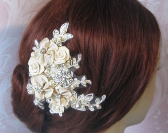 Champagne Fascinator, Bridal Fascinator, Hair Flowers with Rhinestones and Pearls - INGENUE