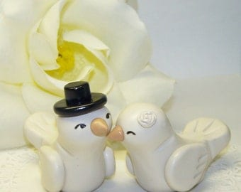 Custom Love Bird Wedding Cake Topper Birds - High Fashion Decor Small - Colors of Choice