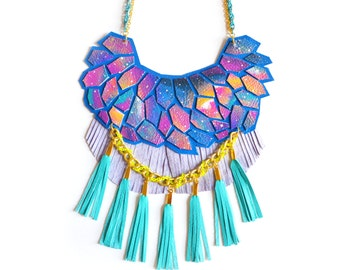 Turquoise Statement Necklace, Neon Woven Chain, Nebula Geometric Hexagon Fringe, Galaxy Leather Jewelry