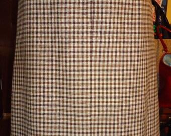 """Vintage, """"Mad Men"""" Style Wool Plaid Skirt"""