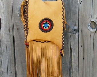 Leather handbag  Beaded turtle totem  Festival bag Turtle medicine bag