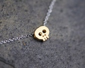 Gold Skull necklace on delicate silver chain, SHINY GOLD dainty gold skull necklace, tiny skull necklace