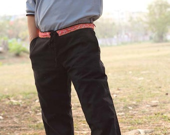 Black 100 percent hemp pants with batik/embroidery for Men