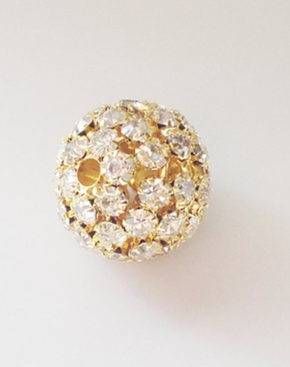 Gold Round AB Crystalized  Rhinestone Focal Bead, Large Gold Sparkly AB Round Bead (1) Piece