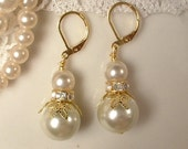 Vintage Shades of Ivory Pearl & Clear Rhinestone Gold Bridal or Bridesmaid Drop/Dangle Leaf Earrings, Rustic Wedding Bridesmaid Gift Set