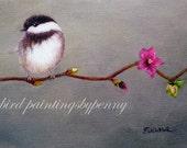 WILD ROSE  Chickadee print 5 x 7 bird print giclee