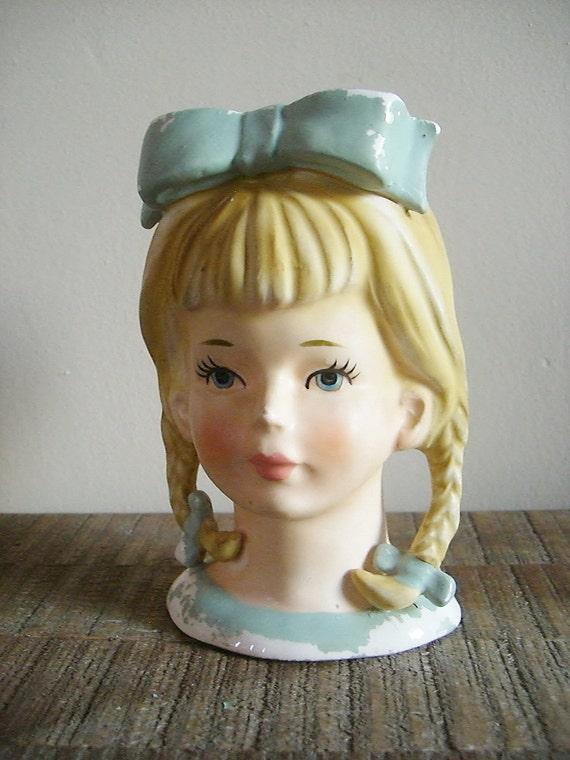 Vintage Lefton Head Vase Little Girl With Braids And Blue