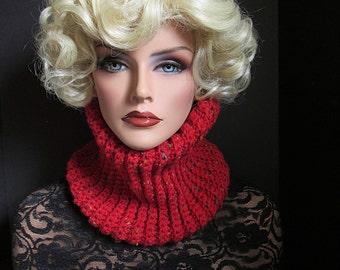 Garnet Red Scarf, Valentines, Neckwarmer, Mens Scarf, Womens Scarf, Skinny Scarf, Winter Scarf, Winter Accessories, Winter Fashion, Red Cowl