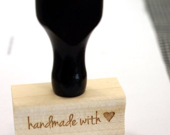 HANDMADE WiTH LOVE with Heart Wood Stamp - stationery rubber stamp, shop supply, gift tag stamp, card making