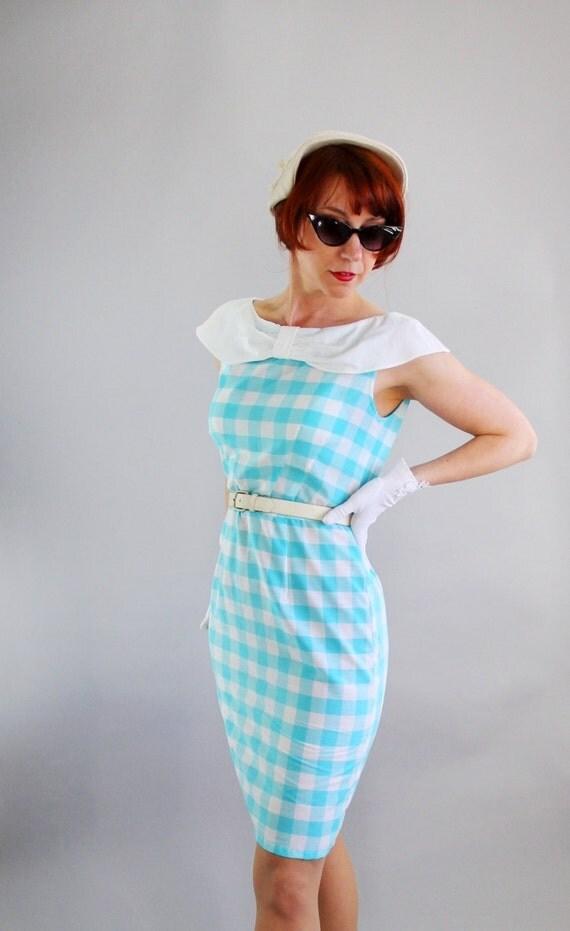 Sale - A Gogo V. Handmade Original Wiggle Dress. Aqua Blue Gingham. Day Dress. Mad Men Fashion. Weddings. Party Dress. Spring. Medium