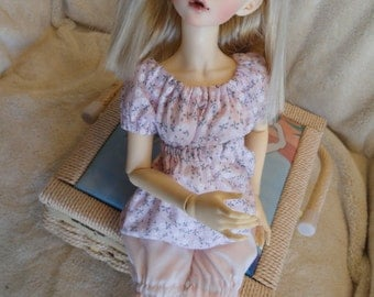 MSD BJD  Chemise and Bloomer Pink Floral