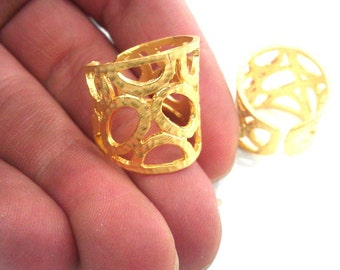Gold Plated Ring Blank Bezel Setting Ring Base (8x4 mm and 6x3 mm blank) Findings ,Adjustable   Gold Plated Brass G323