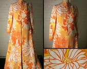 SALE! Vintage Glam 1960s Saks Fifth Avenue  Floor Length Kimono Style Robe with Mandarin Collar, Flamboyant Floral Design, Size Small/Medium