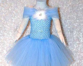 Cinderella Inspired Tutu Dress With Removable Feather And Rhinestone Clip - Size 2T to Girl's Size 6