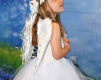 Angel Tutu Dress Costume with Wings and Halo  - Size NB to 24 Months - Can Be Worn Different Ways