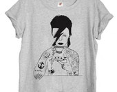 David Bowie Womens T-shirt hand printed by Emilythepemily