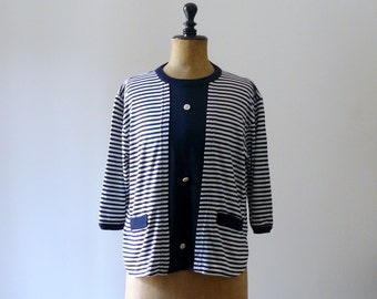 Vintage 1980s white and blue striped blouse. nautical banded shirt