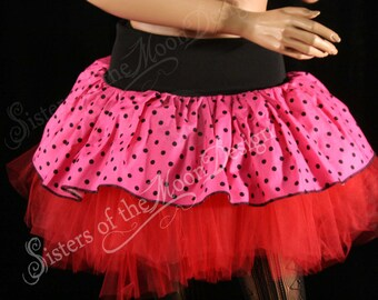 Polk a dot micro mini skirt Adult tutu topper circle skirt pink and black roller derby   -- Medium  - Ready to Ship - SistersEnchanted