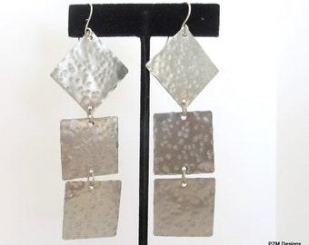 Long hammered earrings, modern tribal silver earrings , artisan geometiric earrings, gift under 40