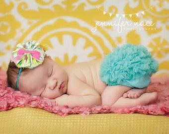 Splendid- frayed fabric ruffle, chiffon flower & rosette headband