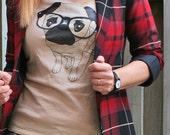 Pug Shirt Cute Nerd Pug Wearing Glasses T-shirt