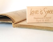 "Love is Sweet. Custom Stamp. 1.5""x3"" Wedding Favors. Made to Order"