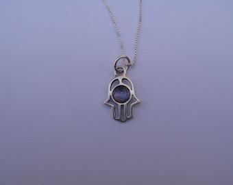 Hamsa Necklace, Purple Hamsa Necklace, Hamsa Charm, Silver Hamsa Necklace, Hamsa Pendant Amethyst Silver Charm Necklace