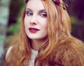 Burgundy Red Rose Flower Crown, Festival Flower Crown, Halo Flower Crown, Burgundy Rose Headband, Floral Wreath, Wedding Flower Girl