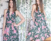 vintage 1970s green floral halter dress - The Malihini