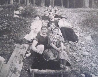 """Victorian Summer - antique photograph - young adults, bathing suits, moustaches, lake, mountains, forest - 7"""" x 9"""" photo, ready to frame"""