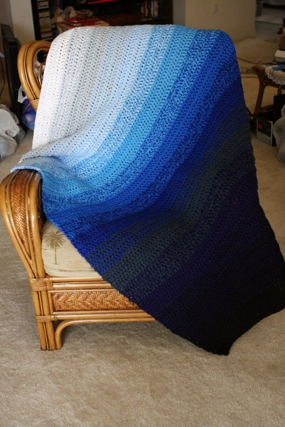 Items Similar To Blue Sea Ombre Afghan Beautiful